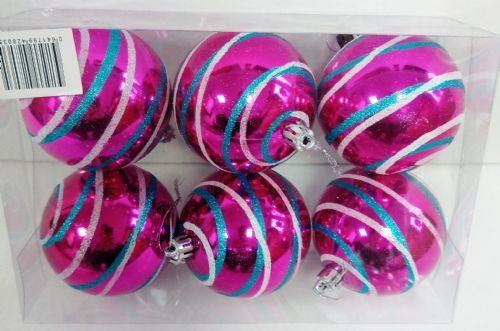 6 Bauble Swirl Hot Pink